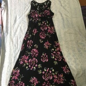Black Floral Maxi Dress with Crochet Back Size M